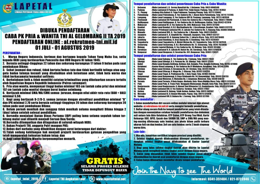Kabar Gembira, Lantamal II Padang Buka Pendaftaran Caba dan Catam PK II 2019
