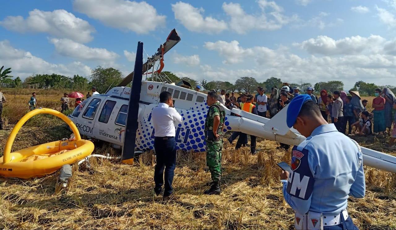 Helikopter 2064 PK-CDV Jatuh di Lombok, Tiga Penumpang Mengalami Luka