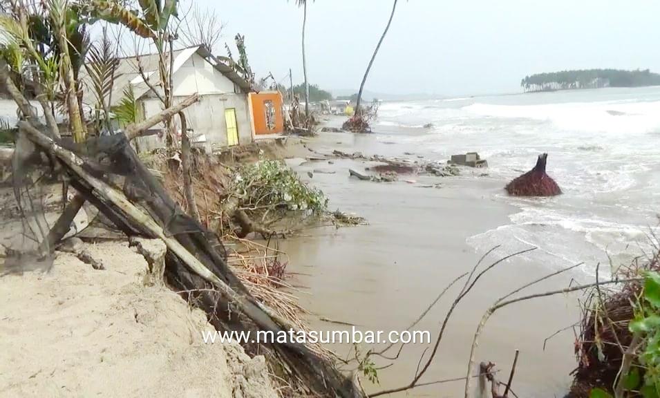 Abrasi Kembali Mengancam Kampung Muaro Nagari IV Koto Hilir Batangkapas, Dua Rumah Ambruk