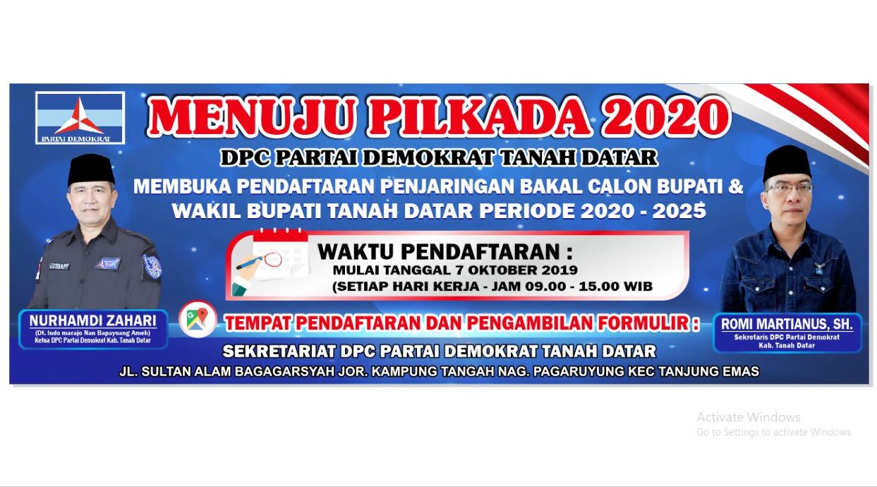 Pilkada 2020, Partai Demokrat Buka Penjaringan Bakal calon Kepala Daerah Tanah Datar