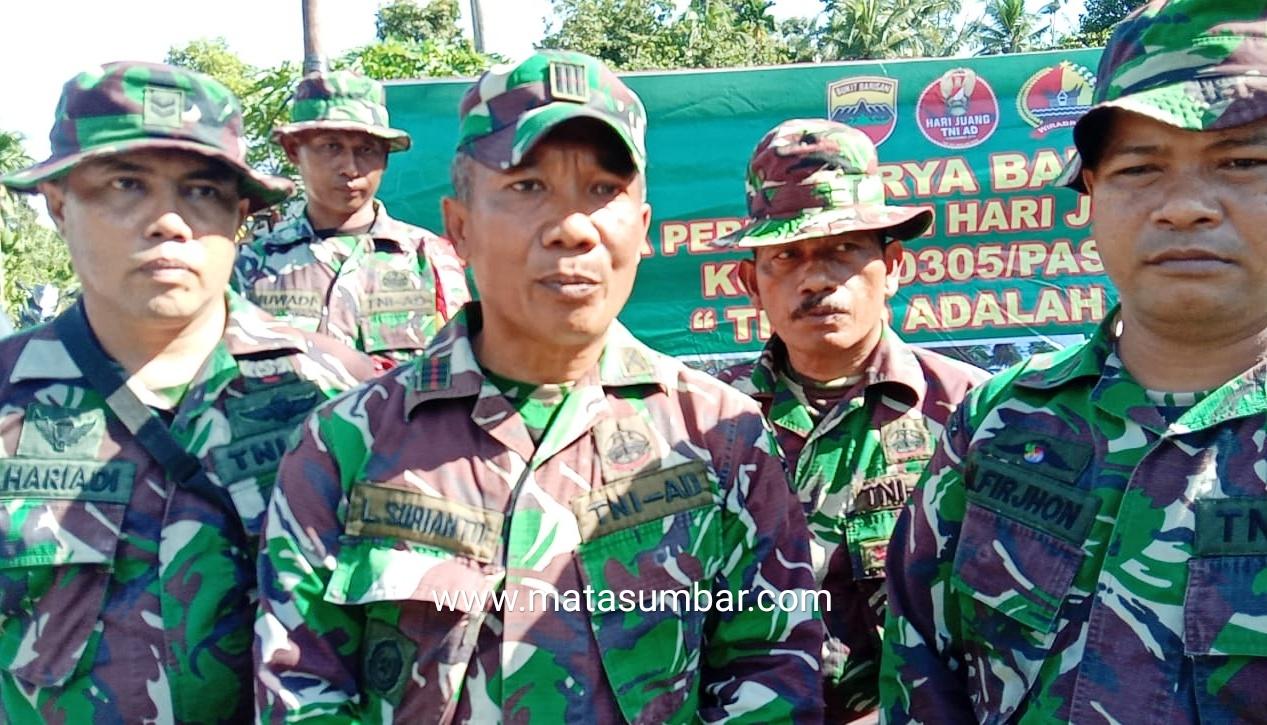Hari Juang TNI-AD, Koramil 02 Simpang Empat Laksanakan Gotong Royong Bersama