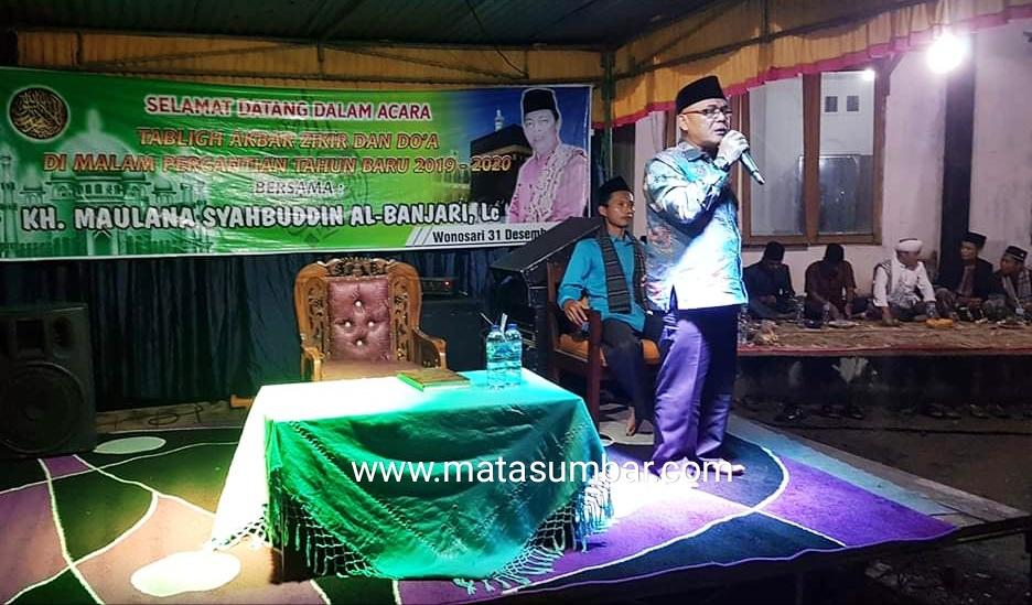Malam Pergantian Tahun, Bupati Pasbar Hadiri Tabliqh Akbar, Zikir dan Doa Bersama di Jorong Bancah Kariang Wonosari