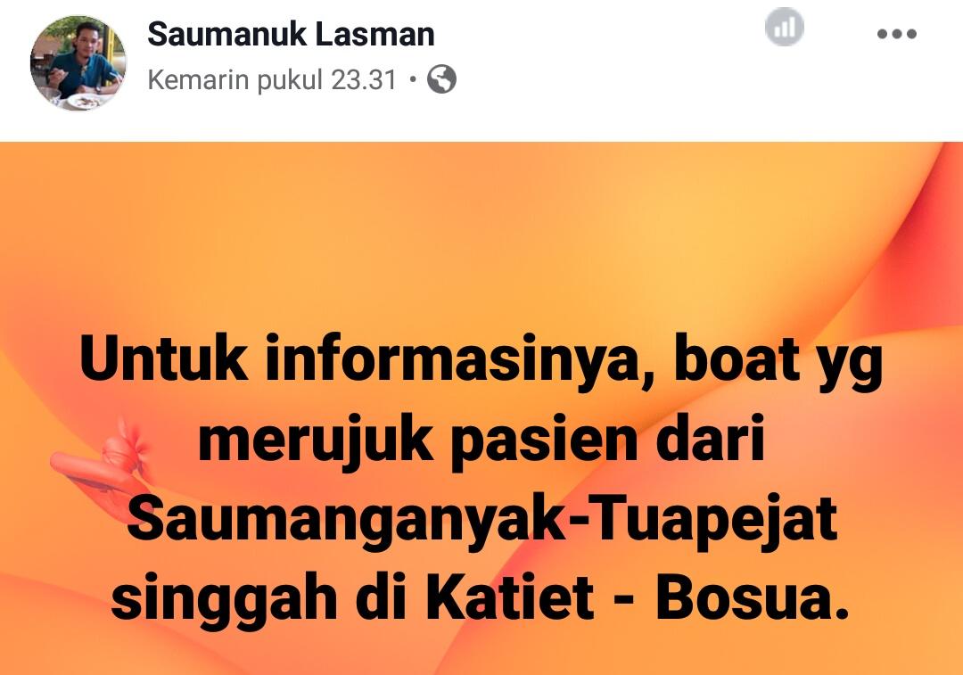 Diduga Hilang Kontak, Ternyata Longboat Pembawa Pasien Singgah di Katiet-Sipora