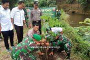Antisipasi Banjir, Koramil 02 Simpang Empat Tanam Pohon di Pinggir Sungai