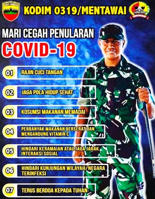 Dandim 0319/Mentawai Ingatkan Masyarakat Untuk Terus Meningkatkan Kewaspadaan Terhadap Virus Corona