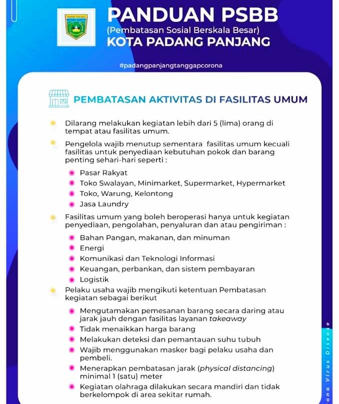 Selama PSBB, Berikut Tempat Fasum Yang Diperbolehkan di Padang Panjang