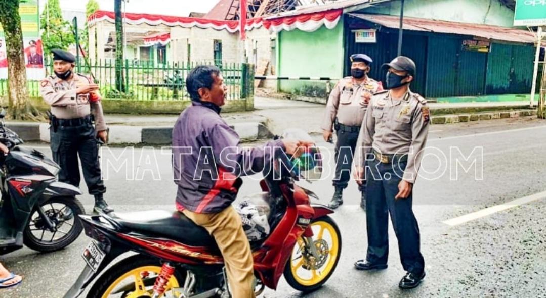 Polres Padang Panjang Tindak dan Edukasi Penggendara Tidak Pakai Masker