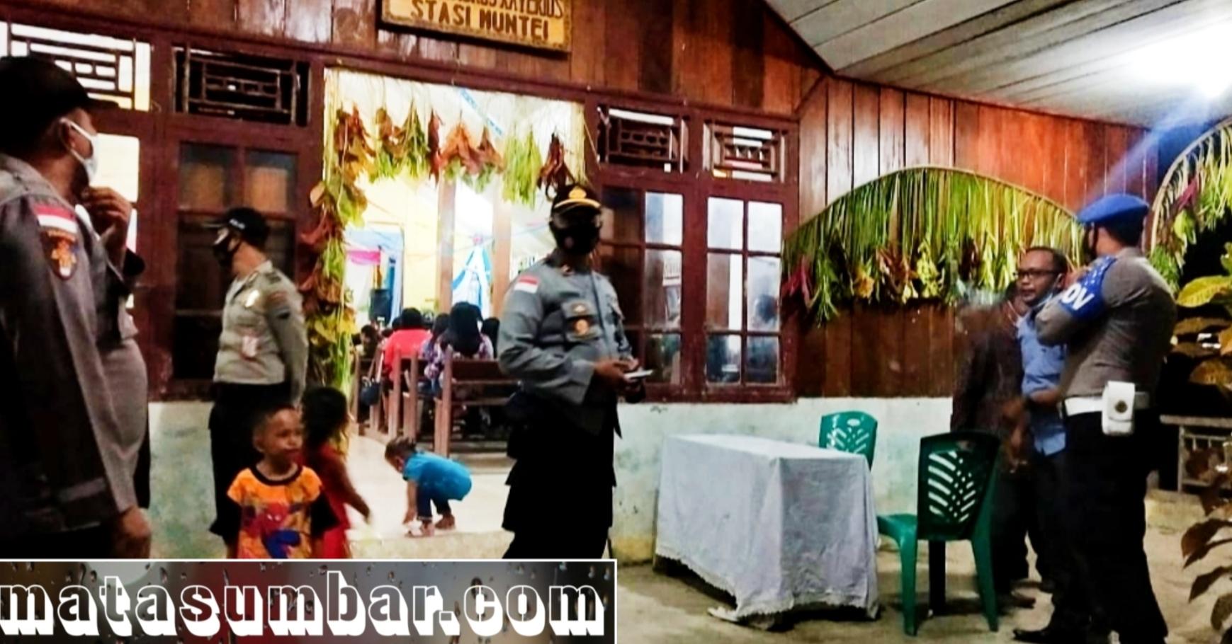Pengamanan Perayaan Malam Natal, Jajaran Polsek Siberut Sambangi 8 Gereja