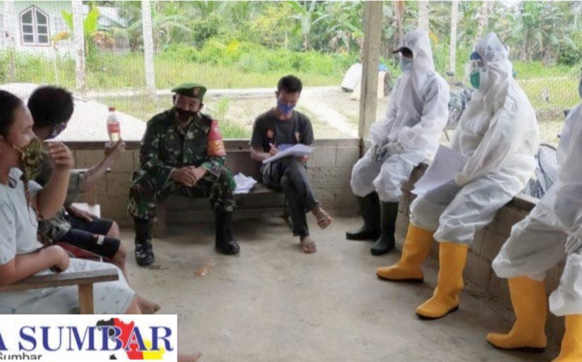 Tracking di Dusun Mapinang, Babinramil Sikakap Dampingi Tim Gugus Tugas