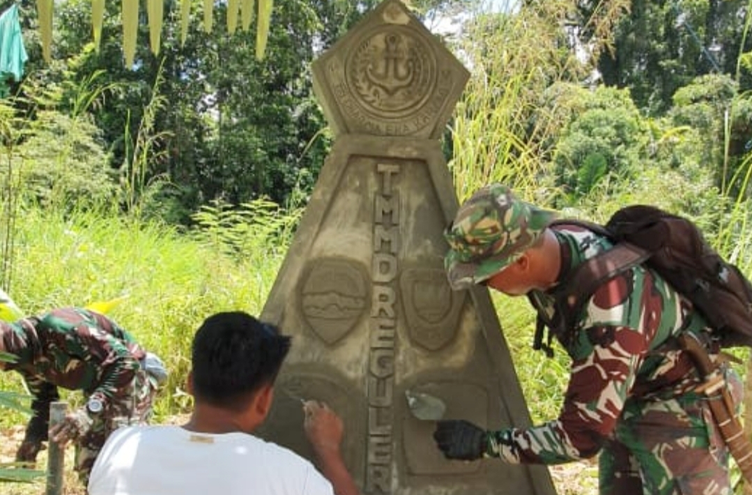 Dansatgas Cek Pembangunan Tugu Prasasti TMMD ke-110 Kodim 0319/Mentawai