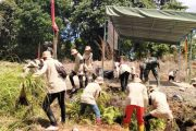 Mahasiswa AKN Polinela Bersama Satgas TMMD Bersihkan Lokasi Sasaran Kunjungan Tim Wasev