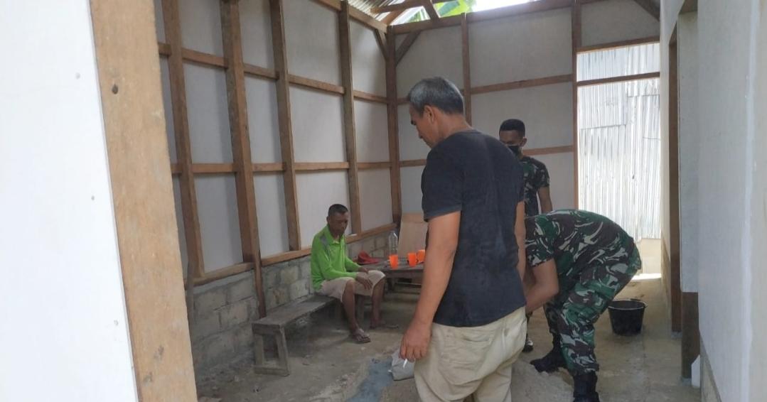 Rehab RTLH Milik Pidarman di Kerjakan Satgas TMMD Sudah Mencapai 80 Persen