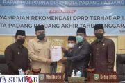 Wako Fadly di Beri Waktu 2 Bulan Menindaklanjuti Rekomendasi DPRD Terkait LKPj Tahun 2020.