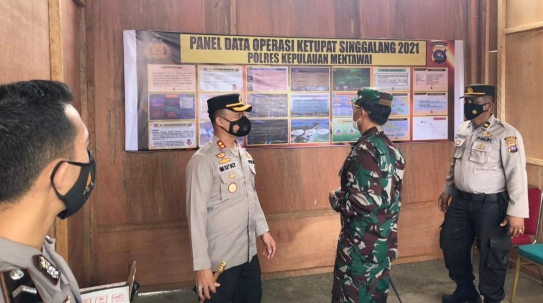 Kapolres Mentawai Bersama Dandim Tinjau Posko Pengamanan Ops Ketupat Singgalang 2021