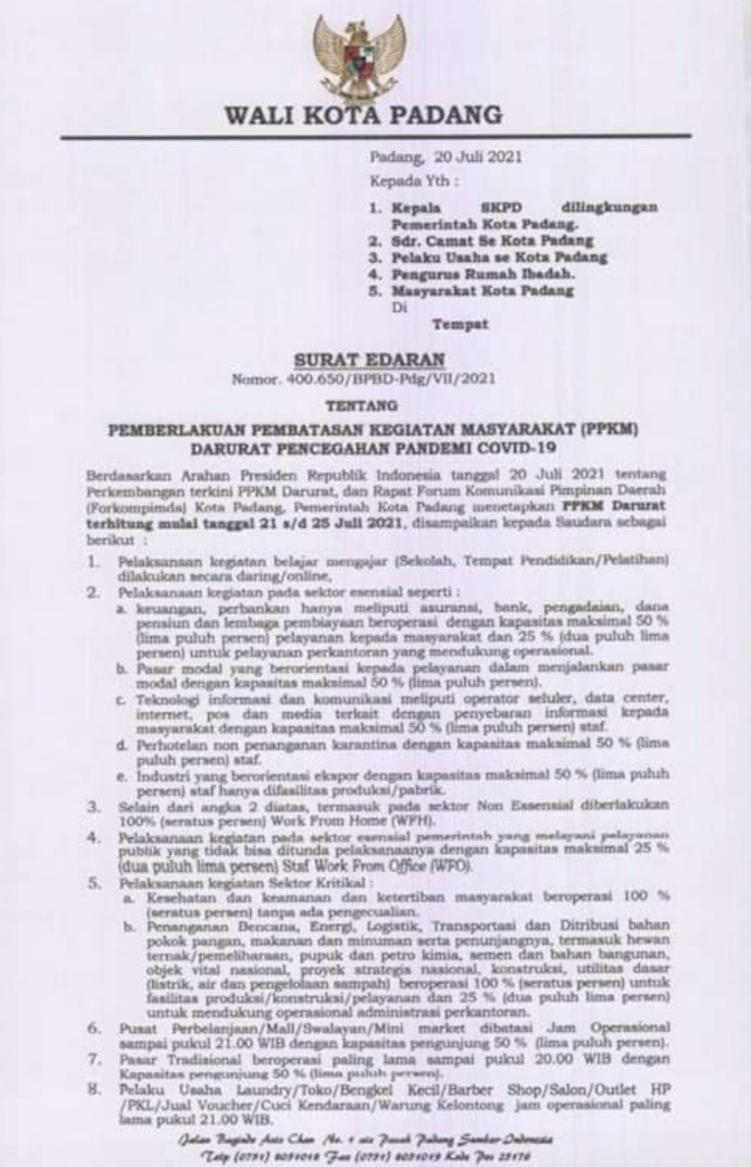 PPKM Darurat Kota Padang Resmi di Perpanjang Terhitung 21-25 Juli 2021