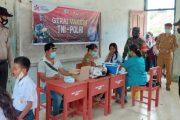 Polsek Sikakap Dampingi Pelaksanaan Gerai Vaksinasi Presisi Bagi Pelajar SMPN 2 Selatan Jaya