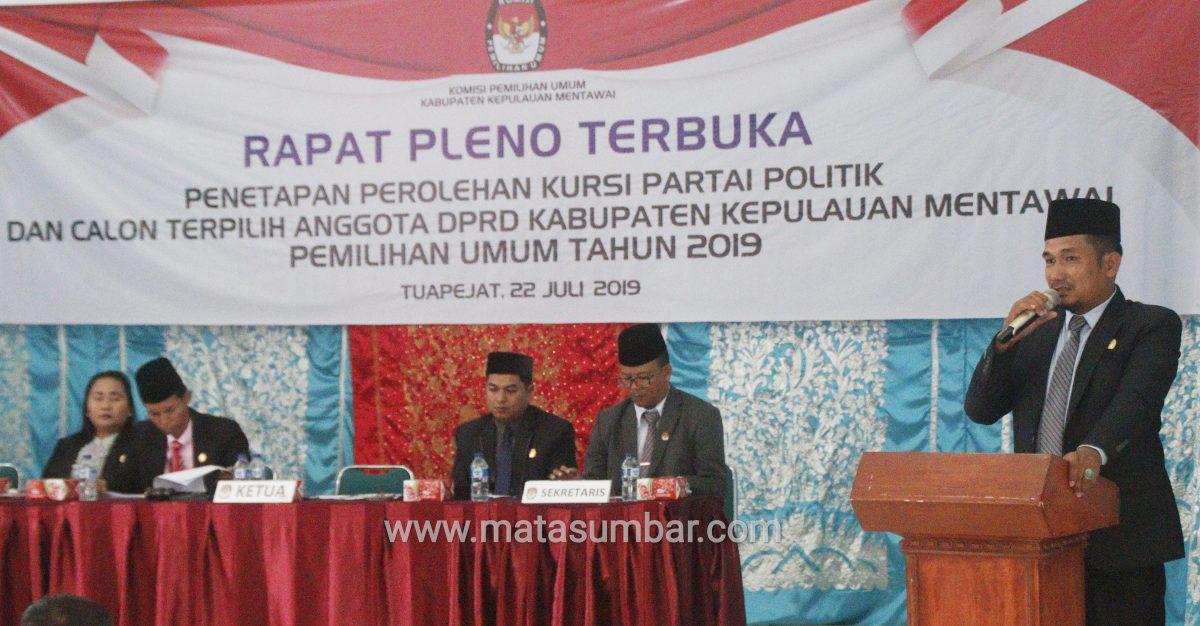 KPU Mentawai Tetapkan 20 Anggota DPRD Terpilih Periode 2019-2024
