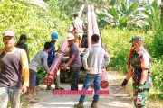 Babinsa Sikakap Bersama Staf Desa Sinakak Monitoring Pemasangan Tiang Listrik