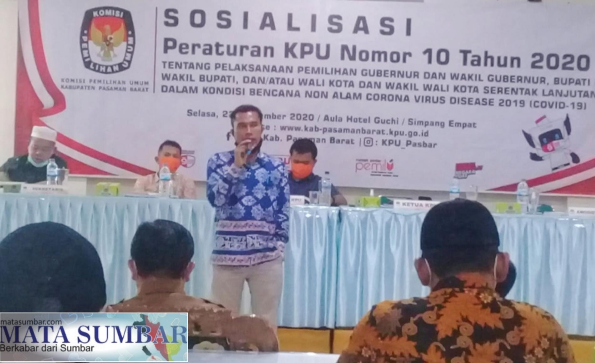 KPU Pasbar Sosialisasikan Peraturan PKPU Nomor 10 Tahun 2020