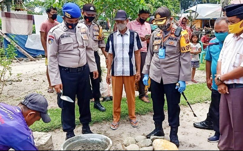 Bantuan Bedah Rumah Dari Personelnya, Peletakan Batu Pertama Dilakukan Kapolres Agam