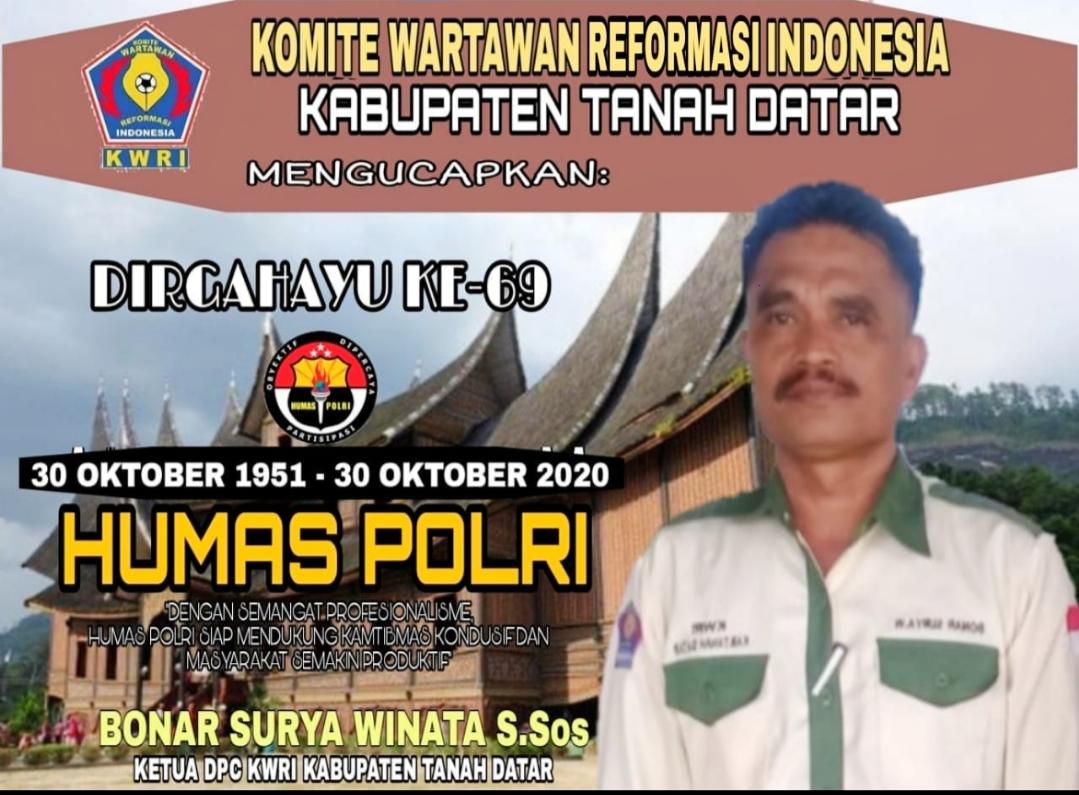 HUT Ke-69 Humas Polri, Ketua DPC KWRI Tanah Datar Ucapkan Selamat dan Semakin Optimal Berikan Pelayanan